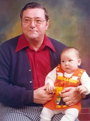 Daddy and a very bald me