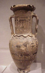 Greek Amphora with Funerary Scenes from the wo...