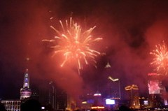 Fireworks at the Shanghai bund