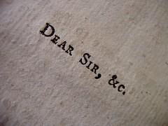 Dear Sir &c