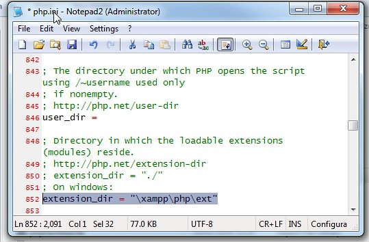 php.ini extension_dir