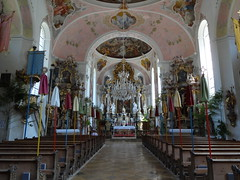 Oberammergau Church - typical Bavarian Baroque - the statues are all carved from wood and stuccoed and gilded to look like marble or gold
