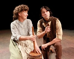 """Kay Walbye as Aunt Eller and Jeremiah James as Curly in the 2010 Music Circus production of """"Oklahoma!"""" at the Wells Fargo Pavilion July 27-August 1.  Phot by Charr Crail."""