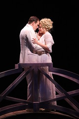 """Patrick Cassidy and Brandi Burkhardt as Harold Hill and Marian in the Music Circus production of """"The Music Man"""" at the Wells Fargo Pavilion July 31 - Aug 5. Photo by Charr Crail."""