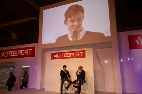 Callum Ilott is interviewed at the Autosport International Show 2017