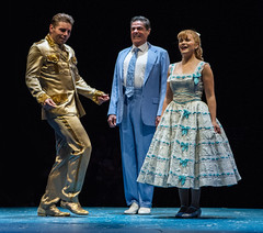 (L to R) Nathaniel Hackmann as Conrad Birdie, Stuart Marland as Mr. MacAfee and Amanda Jane Cooper as Kim MacAfee in Bye Bye Birdie, produced by Music Circus at the Wells Fargo Pavilion July 7-12, 2015. Photo by Kevin Graft.