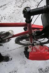 Wet snow on feet