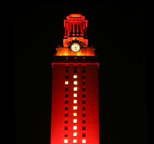 The lighting of The Tower is a common UT Tradition. Photo by Stephen Reidmiller