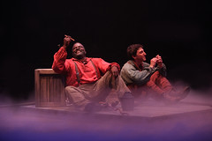 (L to R) Phillip Boykin as Jim and Ben Fankhauser as Huck Finn in Big River, produced by Music Circus at the Wells Fargo Pavilion June 23-28, 2015. Photos by Charr Crail.