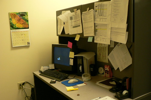 Not actually my desk, but you get the idea.  Lots to do!