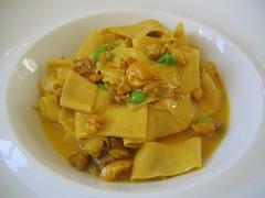 Paparadelle, saffron chicken ragu and english peas