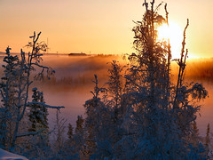 Sun and Ice Fog on Boot Lake