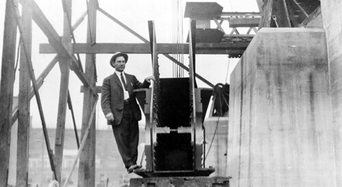 Engineer on the Detroit Superior Bridge by Cleveland Memory Project.