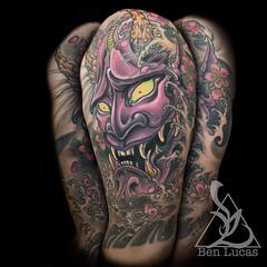 Hannya-Mask-Nautical-Star-cover-up-Ben-Lucas-Eye-Of-Jade-Tattoo