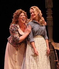 """Heather Jane Rolff (left) as Ado Annie and Brandi Burkhardt as Laurey in the 2010 Music Circus production of """"Oklahoma!"""" at the Wells Fargo Pavilion July 27-August 1.  Photo by Charr Crail."""