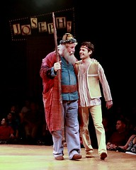 "Paul Ainsley as Jacob and Max von Essen as Joseph in the 2010 Music Circus production of ""Joseph and the Amazing Technicolor Dreamcoat"" at the Wells Fargo Pavilion July 20-25.  Photo by Charr Crail."