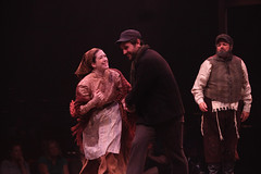 """(L to R) Leah Horowitz, Jordan Bondurant and Bob Amaral as Hodel, Perchik and Tevye in the Music Circus production of """"Fiddler on the Roof"""" at the Wells Fargo Pavilion Aug 14-19. Photo by Charr Crail."""
