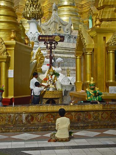 praying woman in Rangoon