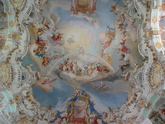 Wieskirche ceiling of the Last Judgement with Jesus on a rainbow