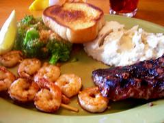 Lunch - steak and shrimp