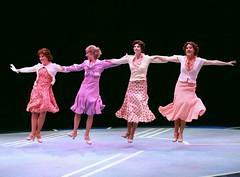 """Left to right:  Kim Arnett as Anytime Annie, Melissa Lone as Peggy Sawyer, Lisa Rohinsky as Lorraine and Sarah Marie Jenkins as Phyllis in the 2010 Music Circus production of """"42nd Street"""" at the Wells Fargo Pavilion August 24-29.  Photo by Charr Crail."""