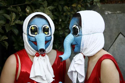 Girls with elephant masks, Japan