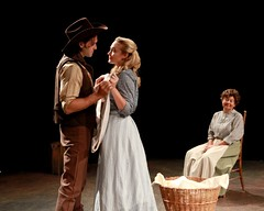"""Jeremiah James as Curly, Brandi Burkhardt as Laurey and Kay Walbye as Aunt Eller in the 2010 Music Circus production of """"Oklahoma!"""" at the Wells Fargo Pavilion July 27-August 1.  Photo by Charr Crail."""