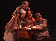 """(L to R) Lauren T. Mack (top), Bella Bagatelos, Noa Solorio and Allen E. Read as Tzeitel, Shprintze, Bielke and Motel in the Music Circus production of """"Fiddler on the Roof"""" at the Wells Fargo Pavilion Aug 14-19. Photo by Charr Crail."""