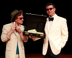 "Timothy Gulan (left) as Freddy Benson and Burke Moses as Lawrence Jameson in the Music Circus premiere of ""Dirty Rotten Scoundrels"" at the Wells Fargo Pavilion August 3-8, 2010.  Photo by Charr Crail."