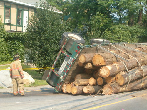 Overturned log truck by eurleif.