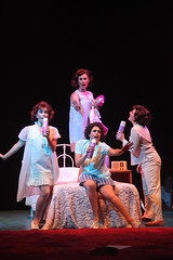(From top center, clockwise) Beth Malone, Melissa WolfKlain, Lesli Margherita and Melissa Fahn as the Pink Ladies in the Music Circus production of Grease June 26 through July 1, 2012. Photo by Charr Crail.