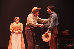 (L to R) Mary Jo Mecca as Sally Phelps, Doug Carfrae as Silas Phelps and Ben Fankhauser as Huck Finn in Big River, produced by Music Circus at the Wells Fargo Pavilion June 23-28, 2015. Photos by Charr Crail.