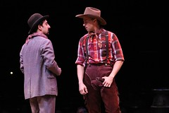 """Amir Talai as Ali Hakim (left) and Michael D. Jablonski as Will Parker in the 2010 Music Circus production of """"Oklahoma!"""" at the Wells Fargo Pavilion July 27-August 1.  Photo by Charr Crail."""