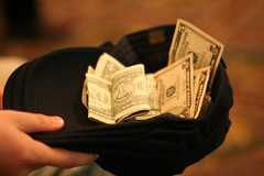 Money in a cap