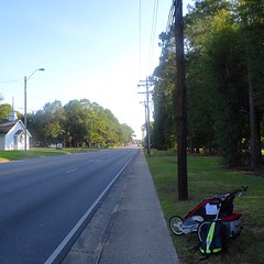 The Road Ahead. Day 98. Chicot St. in Pascagoula, MS. Found a great twist of woods to sleep in last night. And today, I'll be walking along the coast so should have a nice breeze. #TheWorldWalk #travel #wwtheroadahead