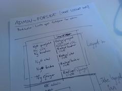 paper prototyping romforkunst.no administration interface