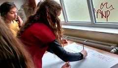 Girls Writing Peace Message