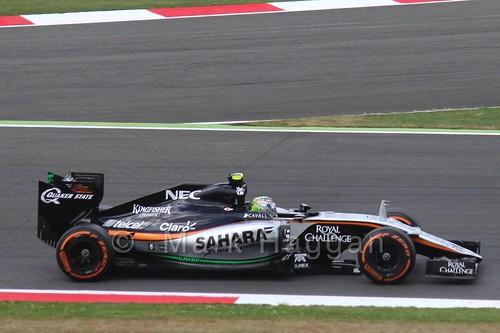 Sergio Perez in Free Practice 3 at the 2015 British Grand Prix at Silverstone