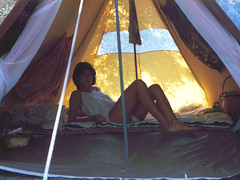Inside my spicy gemtlich yurt (isl_gr (Mnesterophonia)) Tags: camping beautyconcealed ikaria aegean replacement tent greece hiker calypso gemtlich theisland  freecamping wildcamping freedomcamping    munghal