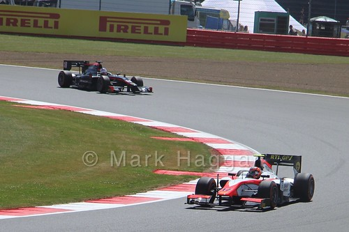 Daniël de Jong leads Sergey Sirotkin in GP2 Practice at the 2015 British Grand Prix