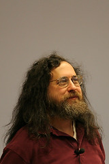 Richard Stallman speaking at the 2005 FOSDEM in Brussels
