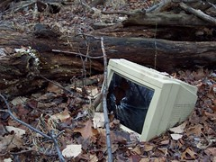 Broken Computer Monitor Found In The Woods by BinaryDreams on Flickr