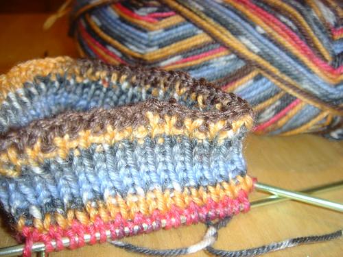 start of knitted socks