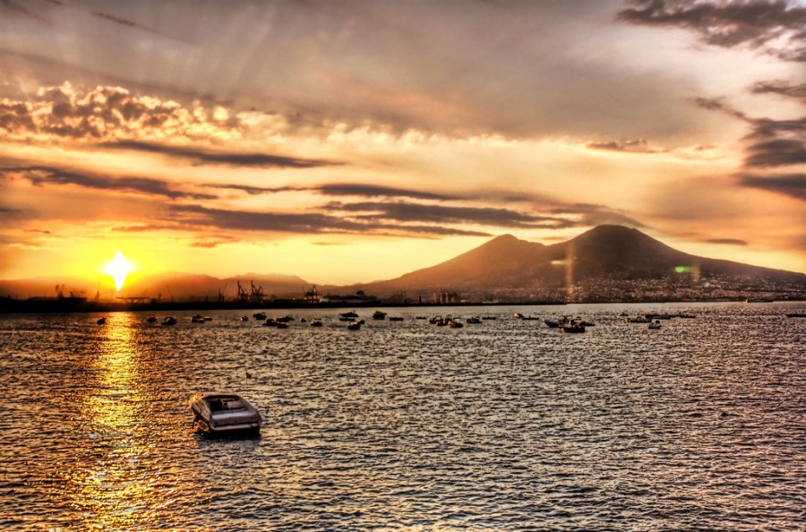 Pompeii and Mount Vesuvius by morning