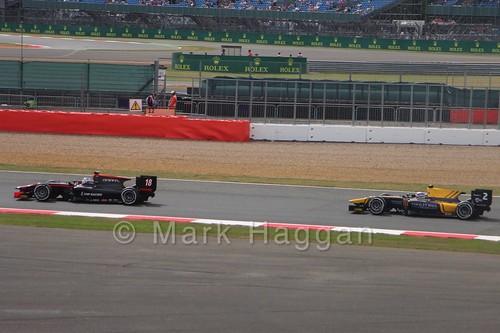 Sergey Sirotkin and Alex Lynn in GP2 Qualifying at the 2015 British Grand Prix