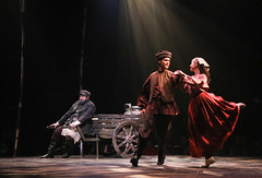 """(L to R) Bob Amaral, Will Taylor and Kristen J. Smith as Teyve, Fyedka and Chava in the Music Circus production of """"Fiddler on the Roof"""" at the Wells Fargo Pavilion Aug 14-19. Photo by Charr Crail."""