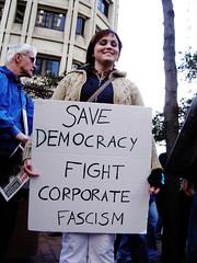 Save democracy fight corporate fascism