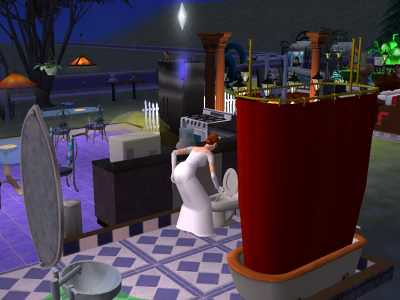 Bride cleaning the toilet in The Sims