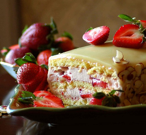 Strawberry Mousse Cake with White Chocolate Ganache