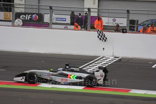Gustav Malja crosses the finish line for Saturday's Formula Renault 3.5 Race at Silverstone